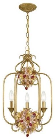 Crystorama 407-GA Fiore Hanging Lantern - 13W in. traditional-pendant-lighting