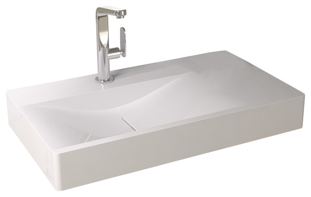 Solid Stone Sink : Solid Surface Stone Resin Wall Hung Sink contemporary-bathroom-sinks