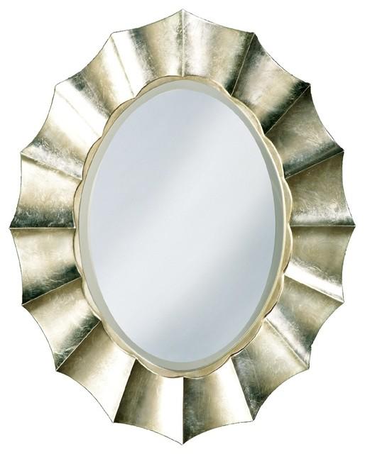 "Contemporary Corona Silver Leaf 40"" High Oval Wall Mirror contemporary-mirrors"