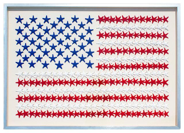 American Flag Coastal Starfish Silver Framed Wall Decor - L - by Karen Robertson beach-style-artwork