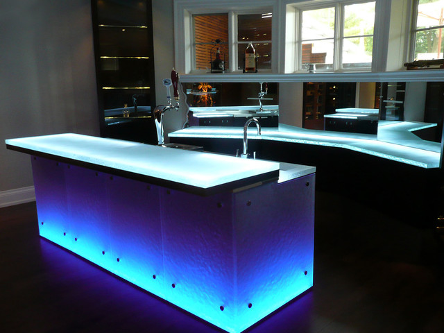 Glass Bar Top Contemporary Kitchen Worktops Toronto
