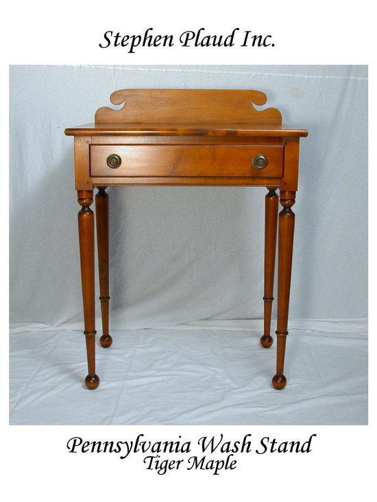 Pennsylvania Wash Stand - Folksy bedside table with a generous top, wide drawer and curvy back splash.  Charming tapered legs end in whimsical ball feet.  Perfect for country settings. Great for bedside, hallway or entry way. Shown in tiger maple and available in other hardwoods.