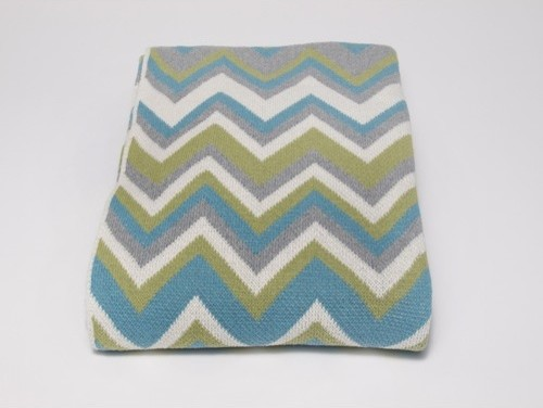 Eco Zigzag Throw, Aqua/Aluminum contemporary-throws