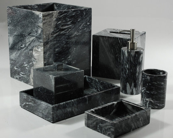 Palazzo Black Bathroom Set - This sleek collection of marble bath accents is ideal for livening up a dated or dreary bathroom. Each piece is modern and features clean lines, meaning it will seamlessly match a variety of design schemes. Use these marble bath accessories in a powder room to really impress guests!