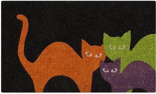 Scaredy cats doormat doormats by crate barrel for Cat outdoor christmas decorations