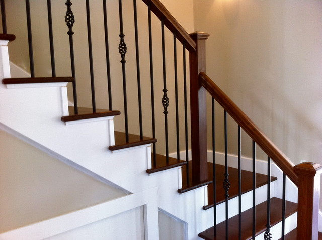 Wrought Iron Spindles With Poplar Stairs Traditional