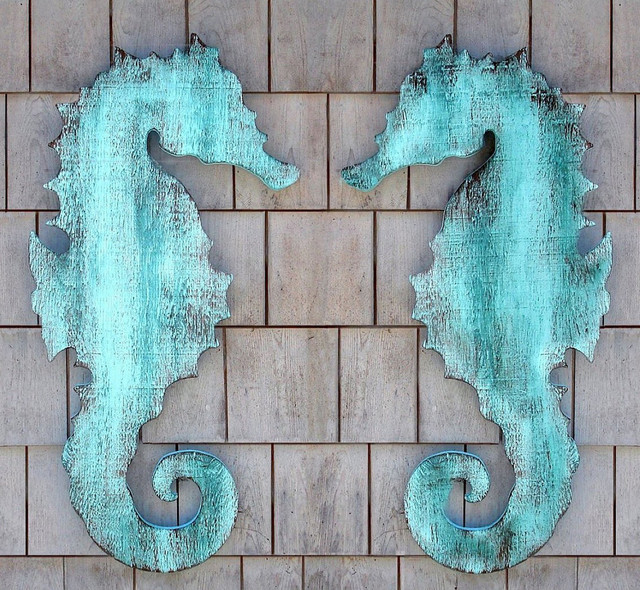 Wooden Seahorse Wall Plaque Eclectic Artwork New