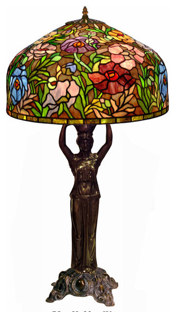 Tiffany Style Peony with Diana Base Lamp traditional-table-lamps