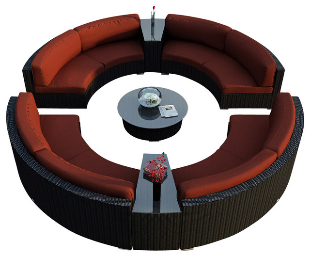 Urbana Eclipse 7 Piece Round Sectional Set, Henna Cushions modern-patio-furniture-and-outdoor-furniture