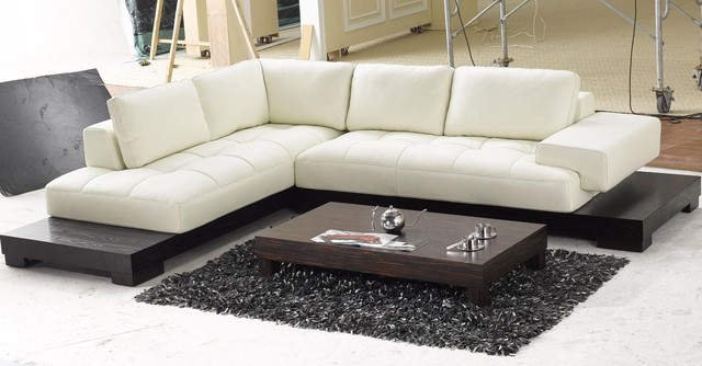 Modern Top Grain Leather Section Sofa