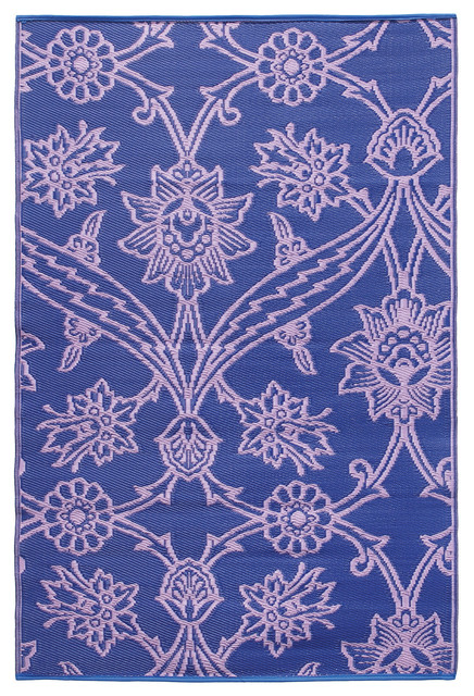 Fuchsia Flower Floormat - 4' x 6' - Lavender. contemporary-outdoor-rugs