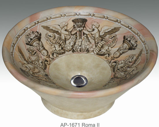 """Hand Painted Vessels Sinks by Atlantis - """"ROMA II"""" Shown on AP-1671 Valencia vessel sink O/D 16-1/2"""" Dia x 7"""" H center drain with and without overflow."""
