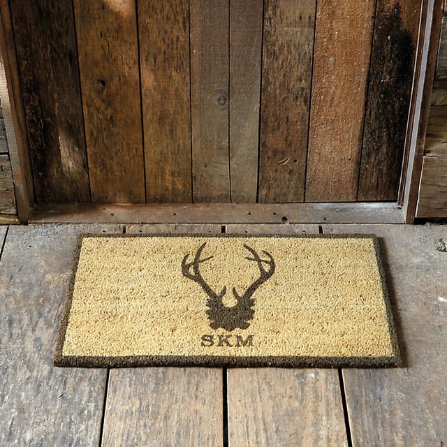 Swell Suzanne Kasler Antler Personalized Coir Mat Rustic Doormats By Ballard Designs Door Handles Collection Olytizonderlifede