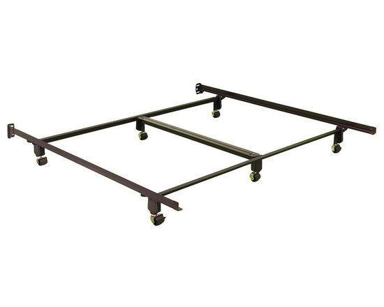 Leggett/Platt Fashion Bed - California King Size Bed Frame w 6 Rug Roller - Both durable and sturdy with a simple construction that snaps in place in seconds, this California king size bed frame will be an excellent addition to your master bedroom decor. Made of steel, the frame has a center support for added strength and features a castered base for easy mobility. No tools are required for assembly. Its innovative Wedge-LockT promotes strength & durability - becomes stronger as more weight is applied - assembles in seconds headboard brackets riveted. Extra wide construction offset to fit virtually all headboards, including every model from Fashion Bed Group. Double angle center support-head to foot design for maximum strength on queen & king models. Supports your mattress warranty. Its deeply recessed legs prevents possible foot injury. Top Wheel to Central Wheel: 49.87 in.. Overall Length: 71.81 in.. Boring Width: 69.25 in. - 72 .18 in.. Between Side Rails: 71.75 in.. Floor to Box spring: 7.31 in.