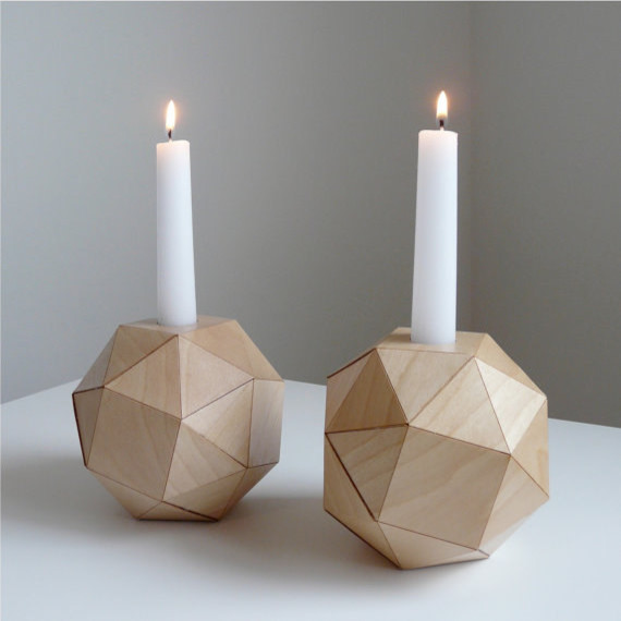 Geometric Wood Candlesticks by Urban Analog contemporary candles and candle holders