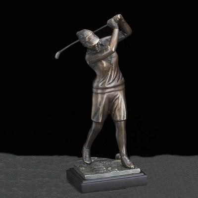 Bey-Berk International 14H in. Bey-Berk International Bronzed Metal Woman Golfer modern-artwork
