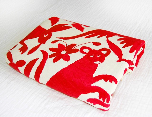 Queen Size Mexican Suzani Bedspread, Red eclectic-quilts-and-quilt-sets
