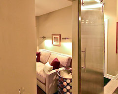 Master bathroom toilet closet with contemporary sliding barn door - Contemporary - Bathroom ...