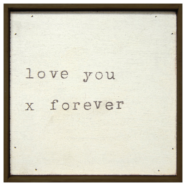 Love You X Forever' Vintage Typewriter Square Wall Art transitional-novelty-signs