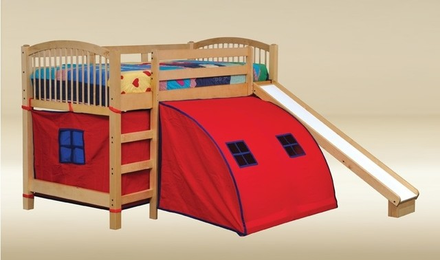 Twin Loft Bed With Pop Tent Canvas And Slide Modern