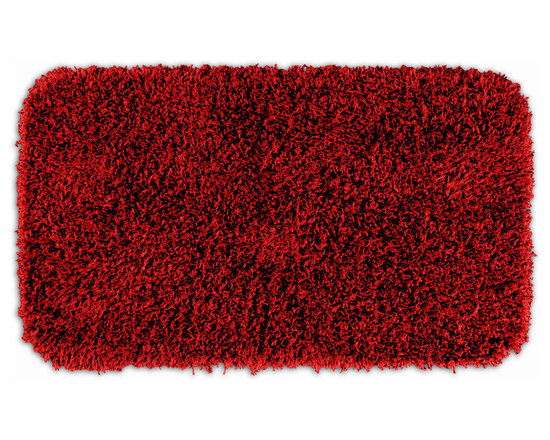"Sands Rug - Quincy Super Shaggy Red Hot Washable Runner Bath Rug (2'6"" x 4'2"") - Jazz up your bathroom, shower room, or spa with a bright note of color while adding comfort you can sink your toes into with the Quincy Super Shaggy bathroom collection. Each piece, whether a bath runner, bath mat or contoured rug, is created from soft, durable, machine-washable nylon. Floor rugs are backed with skid-resistant latex for safety."