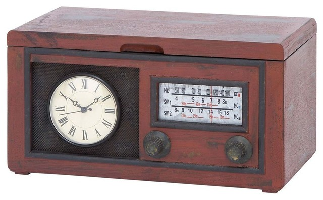 Radio Attached Wood Cabinet with Antique Clock - Modern - Home Electronics - by Modern Furniture ...