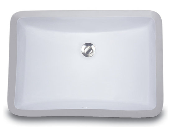 """UM-18x12-W - 18"""" x 12"""" Undermount Rectangle Ceramic Vanity Sink with Overflow. Available in White or Bisque."""