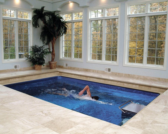 Original Endless Pools® - Many people choose to install an Endless Pool in a sunroom for year-round indoor swimming with natural light.