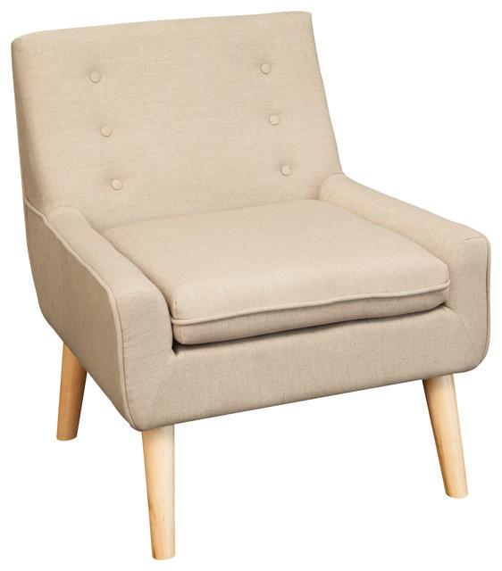 Brockston Fabric Retro Accent Chair Brown Midcentury