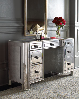 Logan Mirrored Vanity Desk Traditional Bedroom Makeup V