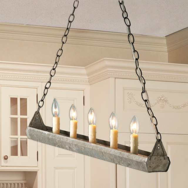 Galvanized Trough Island Chandelier Chandeliers By Shades Of Light