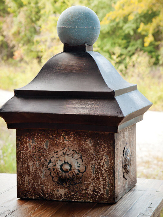 """Rustic Metal Cupola - Rustic embossed metal base rises to a pagoda """"roof"""" finished with a ball finial. At a little over two feet tall the cupola makes a fascinating accent for the garden or the grounds surrounding it. Pair it with lanterns in the same shape for a table centerpiece. A home and garden collection selected that bring happy memories of childhood past. Whether you are looking for period charm, a style of elegant restraint or just want to infuse a spirit of playfulness, you'll find it here."""