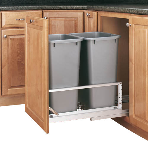 Rev-A-Shelf 5349-2150DM-217 Double 50 Qt. Soft Close Pullout Waste Bin - Silver - Traditional ...