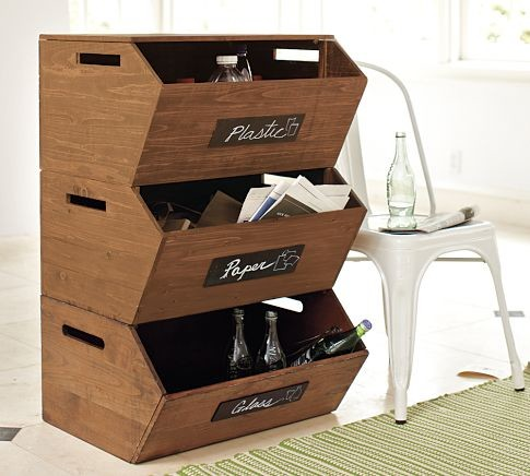 Stackable Recycle Storage modern-kitchen-trash-cans