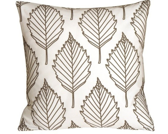 Pillow Decor - Pillow Decor - Contemporary Dark Taupe Leaf Throw Pillow - This is a fresh contemporary throw pillow made from soft 100% cotton fabric. The front features an outline leaf pattern in a dark charcoal gray-brown color. The back is a solid color panel in the same dark gray-brown. With its crisp white background, this is the perfect pillow to brighten up a kitchen nook or window seat, or to add a little color on matching color bed linens.