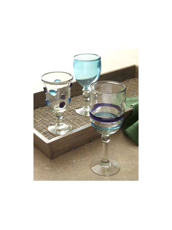 Horchow - Four Wine Goblets with Dots - Exclusively ours. Alluring stemware in a mix of clear, turquoise, and blue is sure to spark thoughts of crystal clear waters and warm tropical nights. And it's eco-friendly! Handcrafted of recycled glass. Hand wash. Each style sold in sets of four....