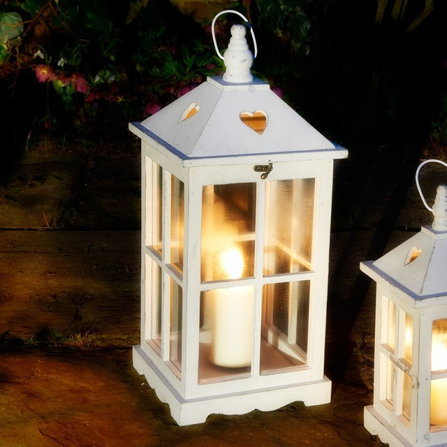 Notcutts white wooden heart lantern traditional candle for Kitchen colors with white cabinets with decorative lantern candle holders