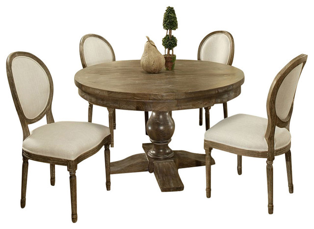 Pastel furniture utopia 5 piece 52 inch round dining room for Traditional round dining room sets