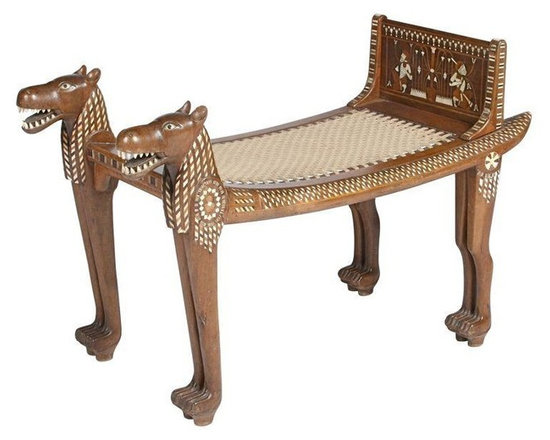 Pre-owned Egyptian Revival Teak Bench - Worthy of a museum of anthropology, this wonderful Egyptian revival bench features hand-painted figures and motifs, a teak wood frame, and woven rope seat.