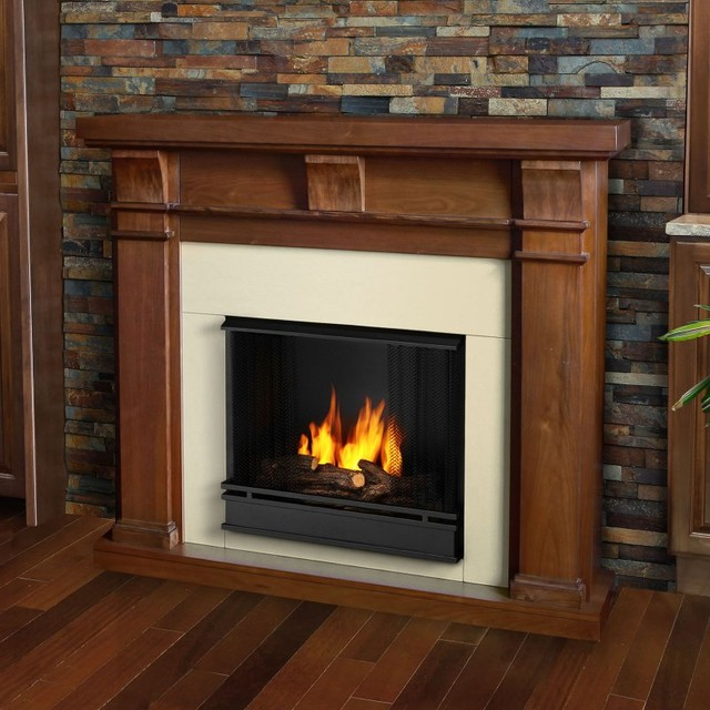 Real Flame Porter Ventless Gel Fireplace - Walnut Brown - 7730-WN contemporary-fireplaces