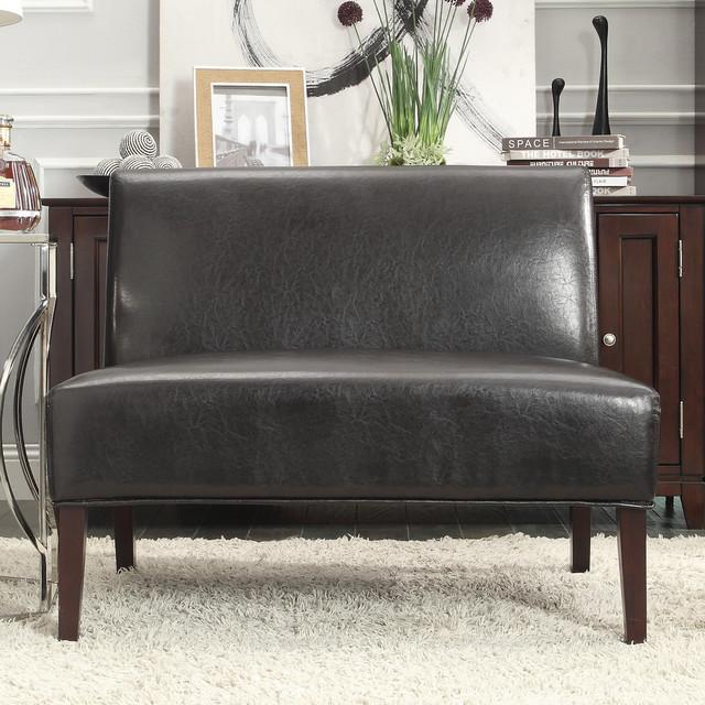 INSPIRE Q Wicker Dark Brown Faux Leather 2 Seater Accent Loveseat Contempor