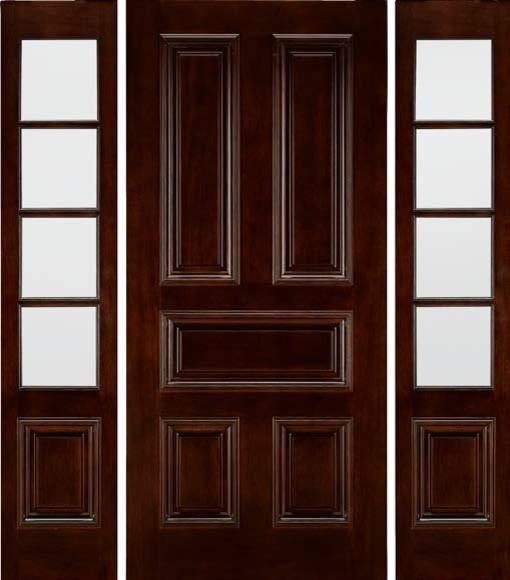 Jeld-Wen A432 Mahogany Woodgrain Door, TDL Sidelights Sable Finish - Traditional - Front Doors ...