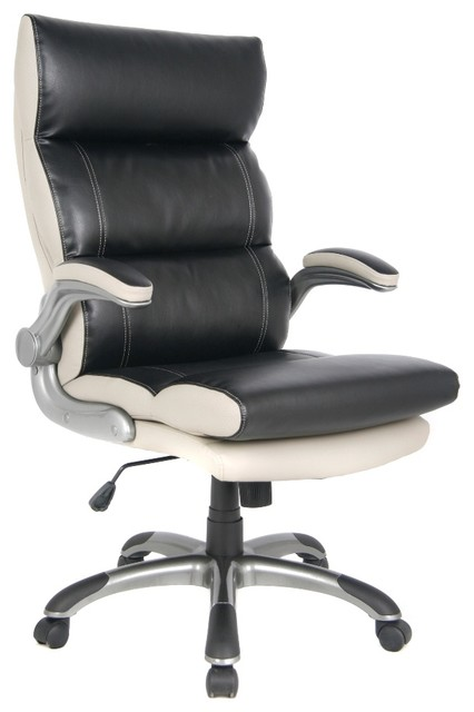 VIVA OFFICE High Back Black And Gray Bonded Leather Executive Office Chair