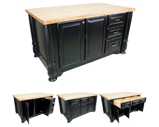 Hardware Resources - Kitchen Islands - Shown and priced with optional hard maple butcher block top (ISL05-TOP), but can be ordered without if you're looking to match your kitchen's counter material.