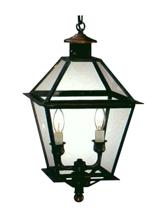 Lanternland - Carolina Colonial Pendant Copper Lantern Hanging Light - The Carolina Colonial Pendant Copper Lantern Hanging Light, shown here in our Dark Copper finish with Clear glass, is handmade in the USA from pure copper or brass. Designed to last for decades and guaranteed for life, the Carolina Colonial Hanging Lantern by Lanternland will never rust or corrode. Available in your choice of six standard sizes, seven fabulous finishes and four glass options, this classic colonial style pairs well with traditional homes.