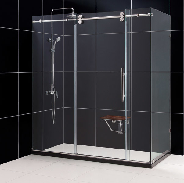 "ENIGMA 36"" x 72"" x 79"" Fully Frameless Shower Enclosure Polished Stainless Steel modern-shower-stalls-and-kits"