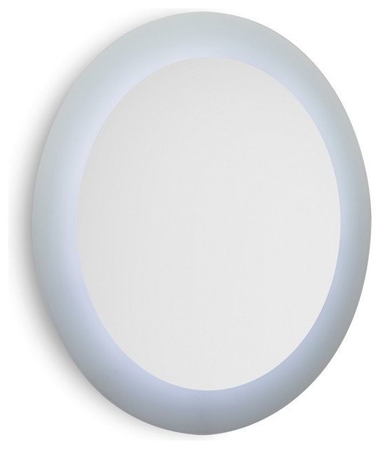 Speci 5687 Round Wall Mounted Bathroom Mirror with White Frame and LED Light contemporary-bathroom-mirrors