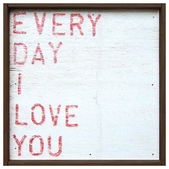 Every Day I Love You' Red Block Reclaimed Wood Wall Art - Small transitional-prints-and-posters