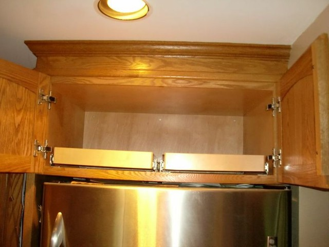 Side-by-Side Pull Out Shelves Above the Refrigerator - Kitchen Drawer Organizers - other metro ...