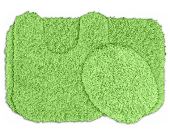 Sands Rug - Quincy Super Shaggy Lime Green Washable Runner Bath Rug (Set of 3) - Jazz up your bathroom, shower room, or spa with a bright note of color while adding comfort you can sink your toes into with the Quincy Super Shaggy bathroom collection. Each piece, whether a bath runner, bath mat or contoured rug, is created from soft, durable, machine-washable nylon. Floor rugs are backed with skid-resistant latex for safety.